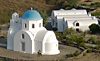 Isolated farmstead and Chapel seen from Archangelos Hill, Santorini, Greece
